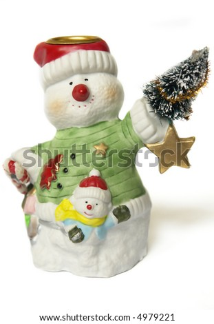 two snowmen with fur-tree and star - stock photo