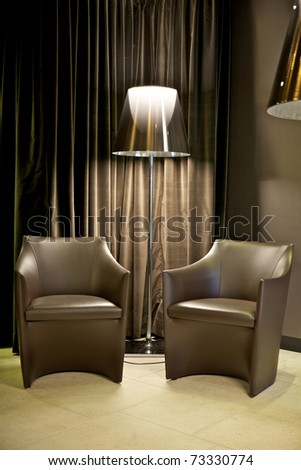 two sofa and fashion lamp with nobody - stock photo