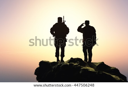 Two soldiers at sunset. 3d render - stock photo