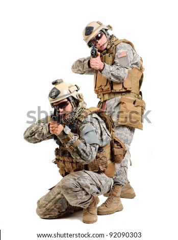 Two soldiers with a rifle on a white background - stock photo