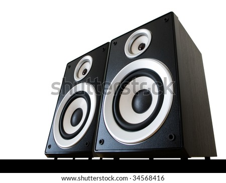 two speakers isolated with clipping path - stock photo