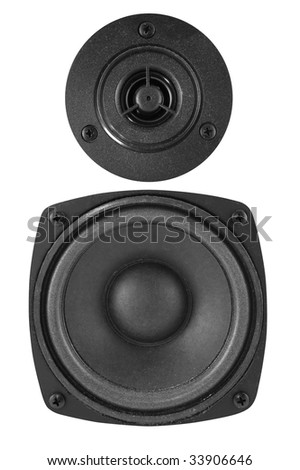 Two speakers on a white background with isolated path. Close-up.