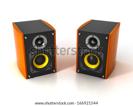 Two Speakers on White Background