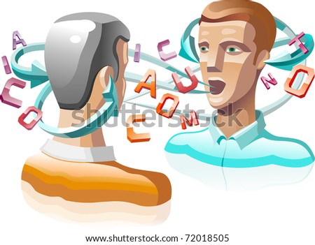 two speaking person with letters flying around them - stock photo
