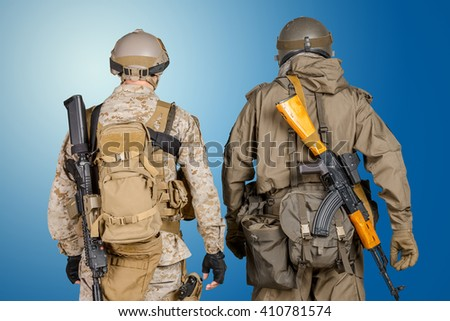 Two special force soldiers  - stock photo