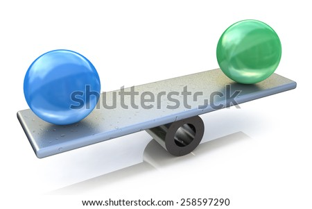 Two spheres in balance. 3d rendered illustration  - stock photo