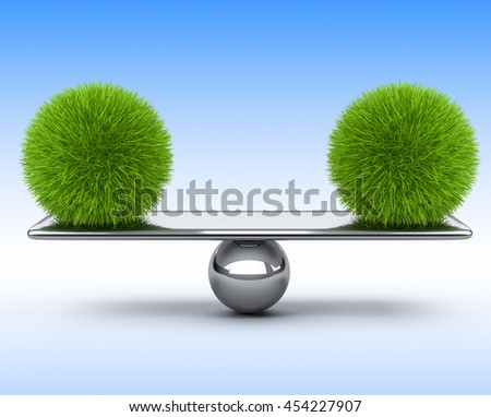 Two spheres of grass balancing on the scales. Eco concept. 3d illustration on a blue background.