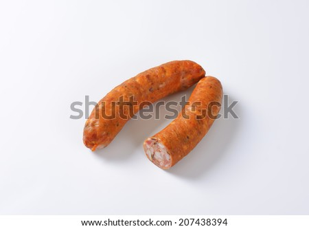 two spicy grilling sausages - stock photo