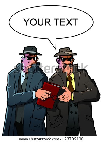 Two spies get information - stock photo