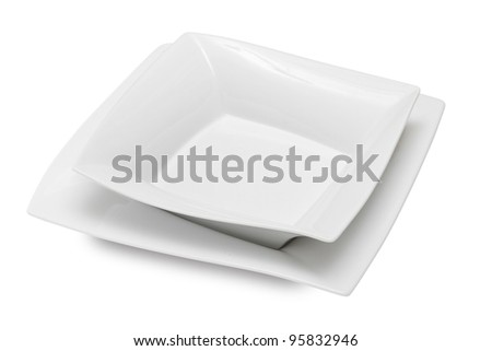 two square white ceramic bowl and dish, isolated
