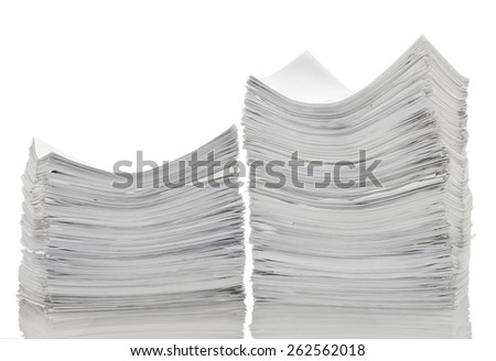 Two stack of papers - stock photo