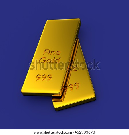 Two stacked gold bars on a blue background, 3d rendering