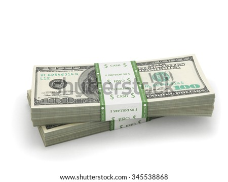 two stacks of hundred paper dollar bills