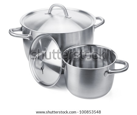 Two stainless steel pots. Isolated on white background - stock photo
