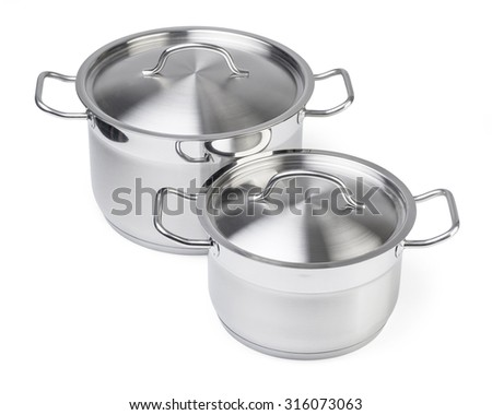 Two stainless steel pots. Isolated on white background with clipping pathg