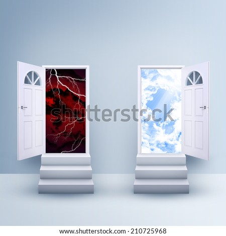 Two stairs with magic doors - stock photo