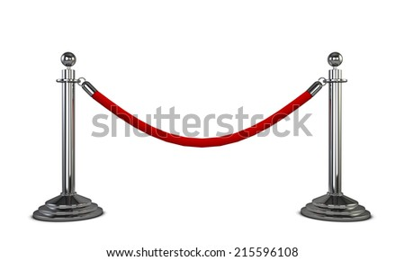 Two stanchions. 3d illustration isolated on white background  - stock photo