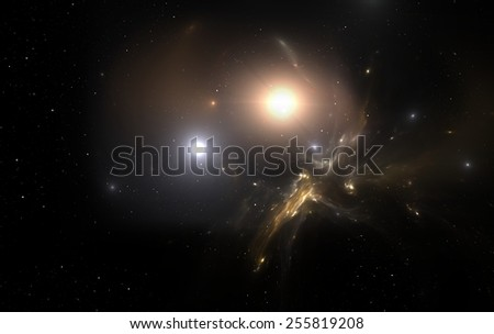 Two stars orbit about their common center of mass. All elements made by me - stock photo