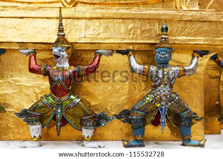 Two Statue of Giant Guardians in Wat Phra Keaw, Bangkok,Thailand