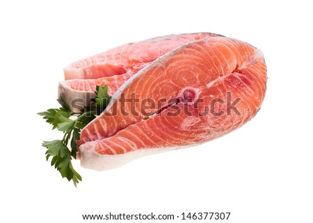 Two steak of raw salmon on a white background
