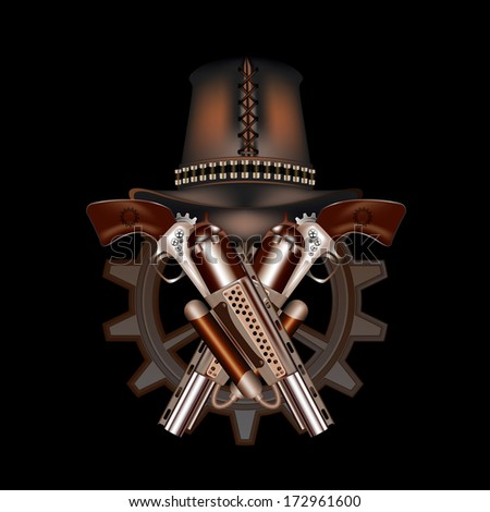 Two steampunk revolvers and hat - stock photo