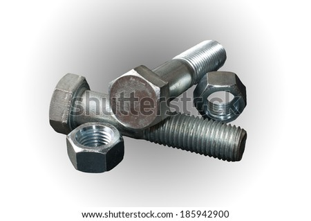 Two steel bolts with his nuts