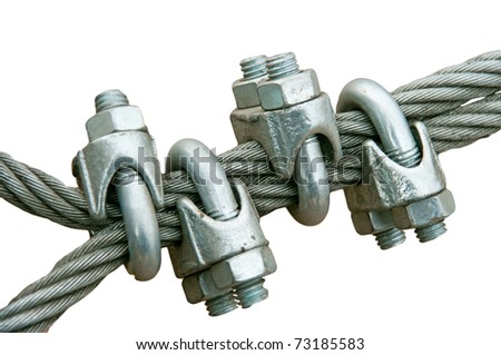 Two steel ropes connected by loose straps - stock photo