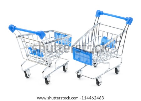 two steel shopping carts with blue handles on white background