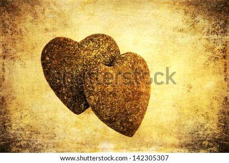 two stone hearts with attractive grunge texture
