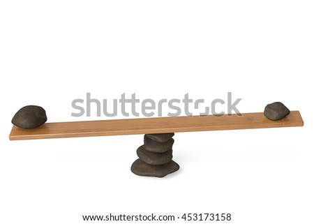 Two stones on the seesaw,3D illustration. - stock photo