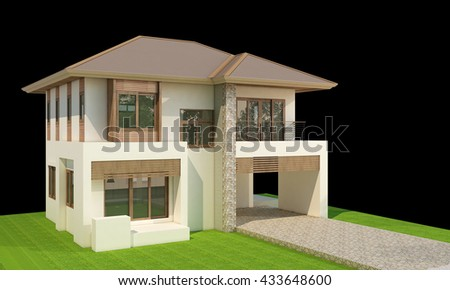 two storey 3d house isolated on black rendered generic