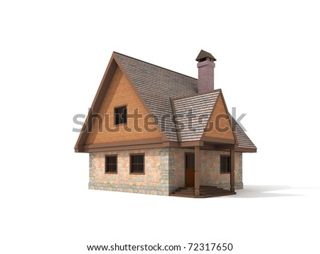 Two storey stone house on white background 3d render
