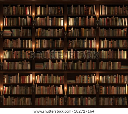 Two-storied Bookshelf. Seamless texture (vertically and horizontally). Background. Mysterious library with candle lighting. - stock photo
