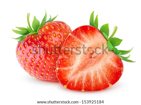 Two strawberries over white background - stock photo