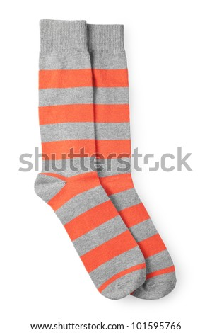 two striped orange and gray socks isolated on white background
