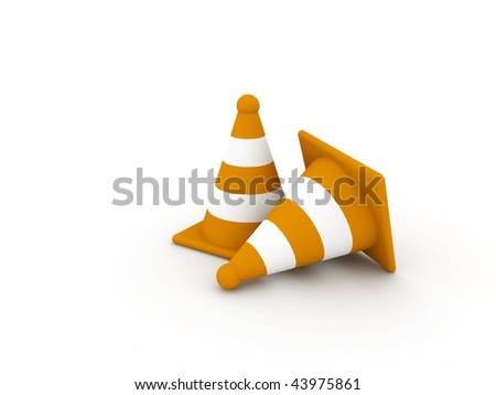 Two striped orange cones on white background. High quality 3d render.