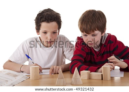 Two students in math´s class - stock photo