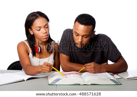 Two students studying together from text book, lifestyle tutoring concept, on white.