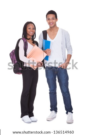 Two Students With Folder And Backpack Isolated Over White Background - stock photo
