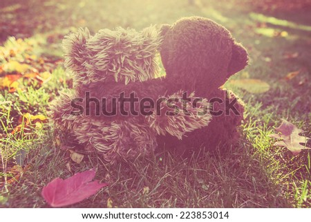 Two stuffed bears hugging.  Instagram effect - stock photo