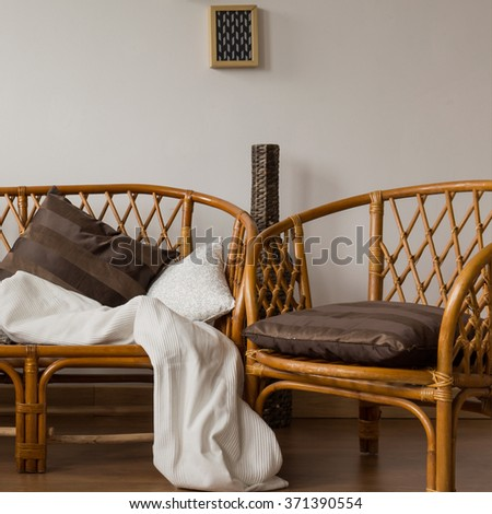 Two stylish brown wicker chairs in a modern house