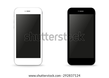 Two stylish phone black and white illustration - stock photo