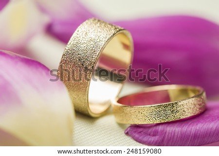 Two stylish textured gold wedding rings amongst scattered fragrant pink rose petals symbolic of love, romance and a lifelong commitment - stock photo