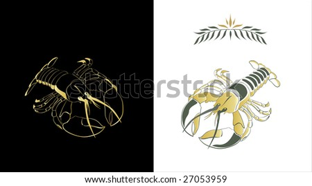 Two stylized sketches of a lobster in gold and dark green colors on white and black background. Contour of a lobster and a fill can be easily separated from a background.