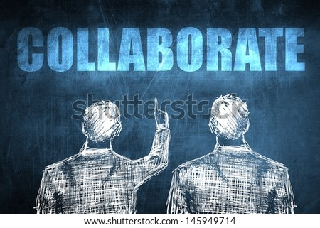 Two successful businessman showing collaborate, business concept sketch - stock photo