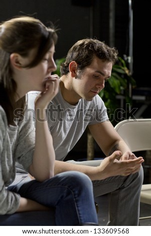 two support group members depressed - stock photo