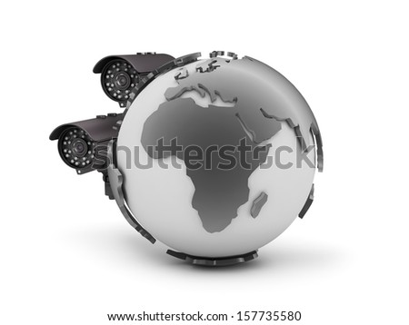 Two surveillance cameras and earth globe - stock photo