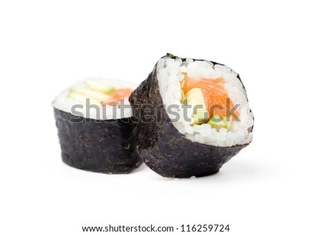 Two sushi fresh maki rolls, isolated on white - stock photo