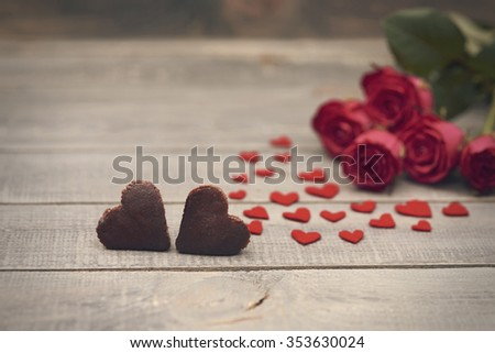 Two sweet heart on wooden planks