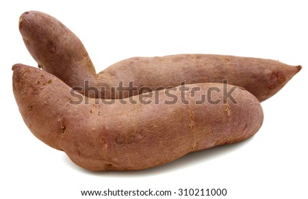 two sweet potatoes isolated on white  - stock photo